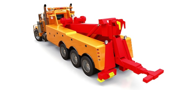 Caminhão de reboque de carga laranja para transportar outros caminhões grandes ou várias máquinas pesadas. renderização 3d.