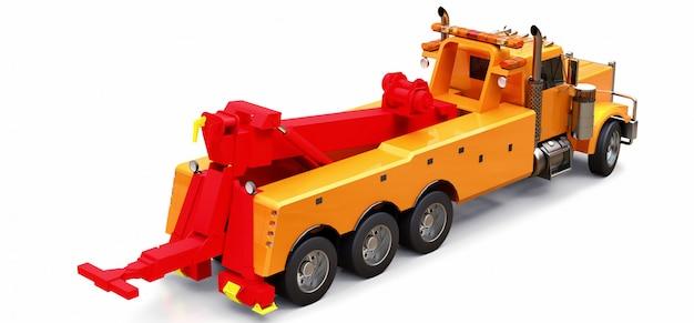 Caminhão de reboque de carga laranja para transportar outros caminhões grandes ou várias máquinas pesadas. renderização em 3d.