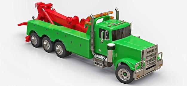 Caminhão de reboque de carga verde para transportar outros caminhões grandes ou várias máquinas pesadas. renderização 3d.