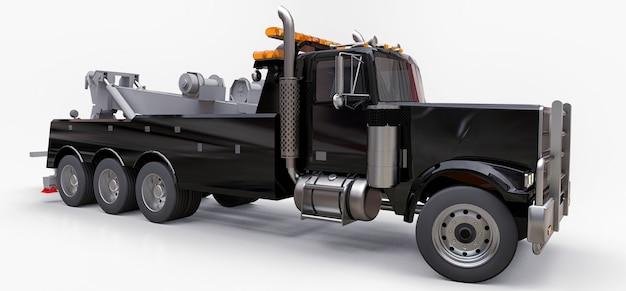 Caminhão de reboque preto para transportar outros caminhões grandes ou várias máquinas pesadas. renderização 3d. Foto Premium