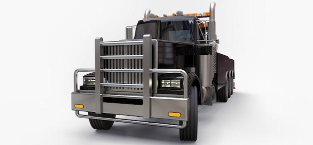 Caminhão de reboque preto para transportar outros caminhões grandes ou várias máquinas pesadas. renderização 3d.