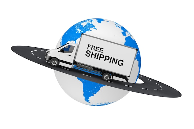 Caminhão de van de entrega de carga industrial comercial branco com sinal de frete grátis sobre a estrada ao redor do globo terrestre em um fundo branco. renderização 3d