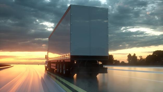Caminhão na estrada rodovia renderização em 3d