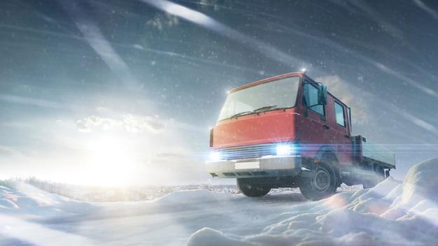 Caminhão na estrada rural maravilhosa ao pôr do sol no inverno. queda de neve. inverno