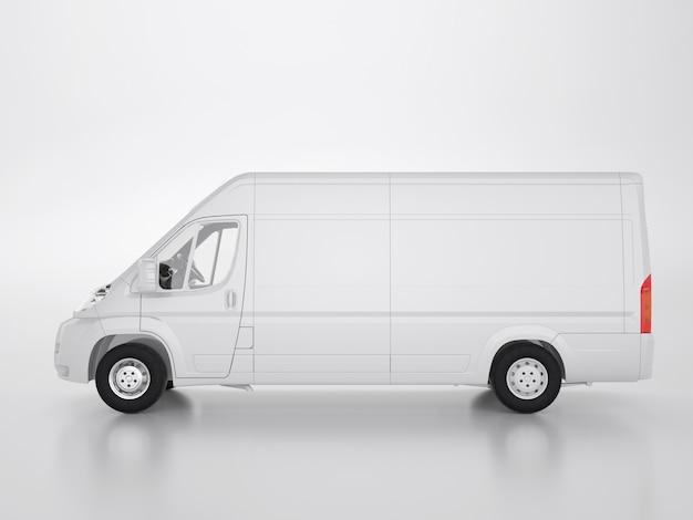 Caminhão pequeno em um fundo branco. traçado de recorte. renderização 3d e ilustração.