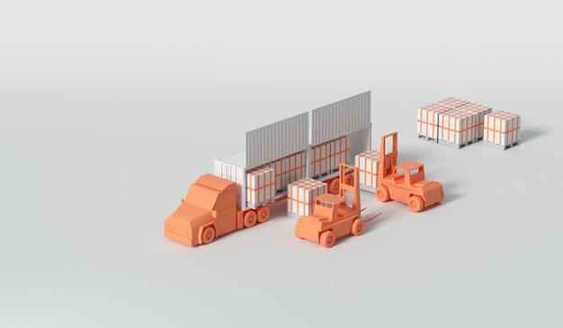 Caminhão porta-contêineres 3d no porto do navio para o conceito de logística e transporte de negócios