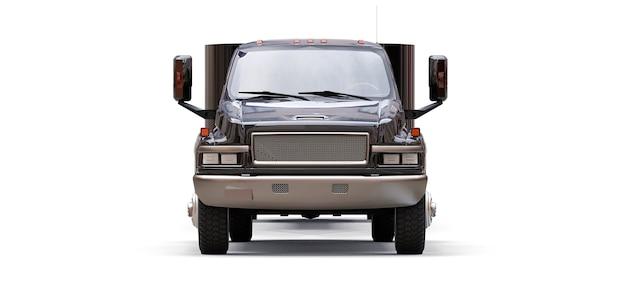 Caminhão preto com reboque para transportar um barco de corrida em um fundo branco. renderização 3d.