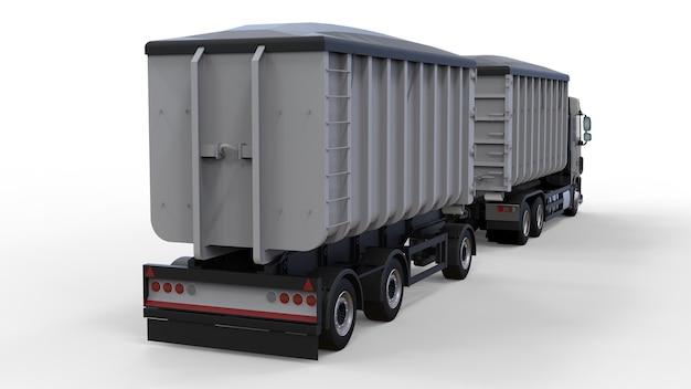Caminhão preto grande com reboque separado, para transporte de materiais e produtos agrícolas e de construção a granel. renderização 3d.