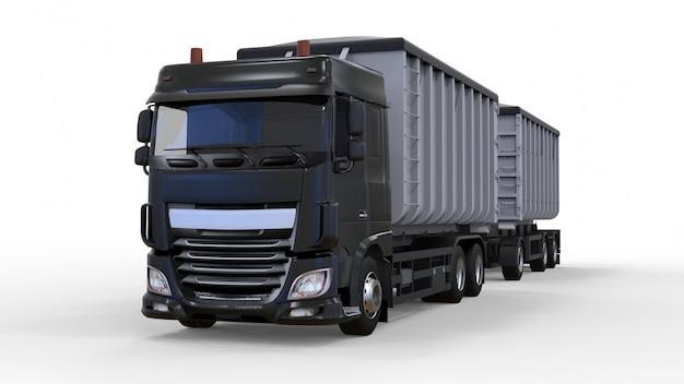 Caminhão preto grande com reboque separado, para transporte de materiais e produtos agrícolas e para construção a granel