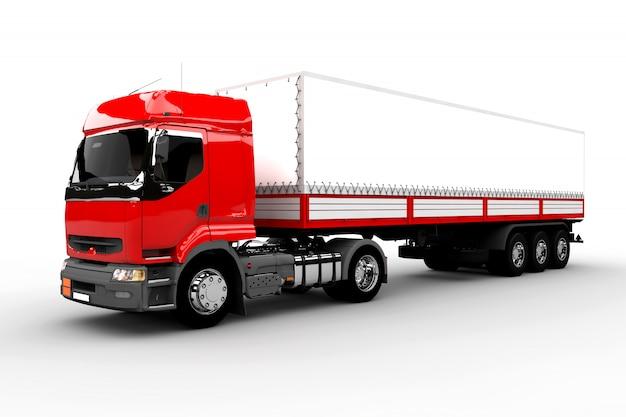 Caminhão vermelho e branco