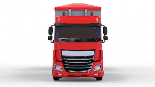 Caminhão vermelho grande com reboque separado, para transporte de produtos e materiais agrícolas e para construção a granel