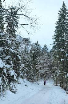 Caminho ao redor do lago eibsee e crianças para caminhadas. vista de inverno. baviera, alemanha.