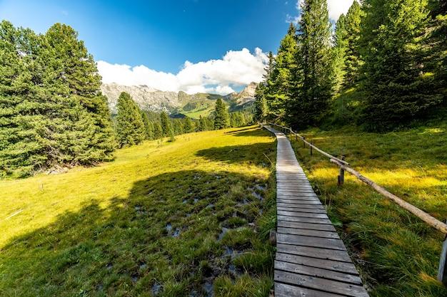 Caminho de caminhada no tirol do sul, itália, dolomitas