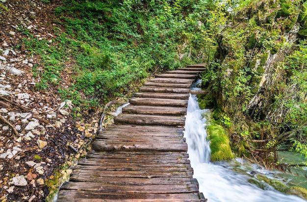 Caminho de madeira acima da água no parque nacional de plitvice, na croácia