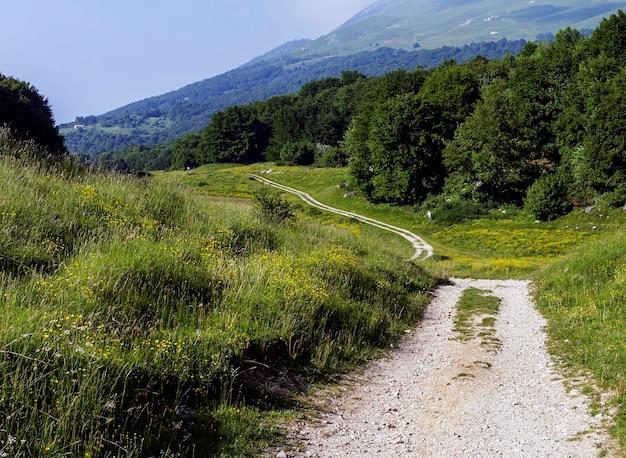 Caminho de montanha no due pozze em san zeno di montagna, na província de verona