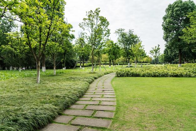 Caminho de pedra em um parque verde exuberante