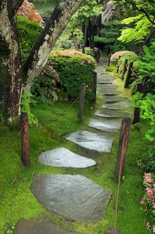 Caminho de pedra molhada em jardim zen japonês no verão