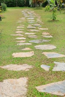 Caminho de pedra no parque com fundo de grama verde
