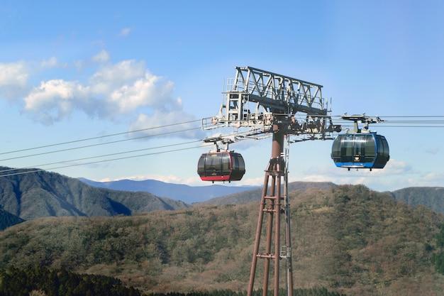 Caminho de teleférico para as montanhas no japão
