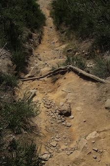 Caminho estreito de terra íngreme descendo uma colina