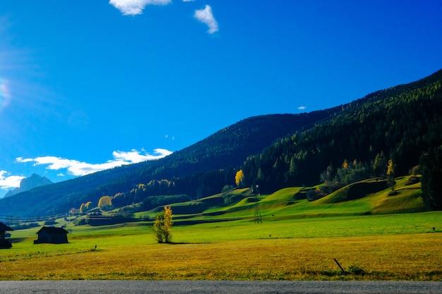 Caminho perto do campo gramado e montanha arborizada com céu azul