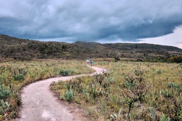 Caminho sinuoso rodeado por colinas cobertas de vegetação sob um céu nublado