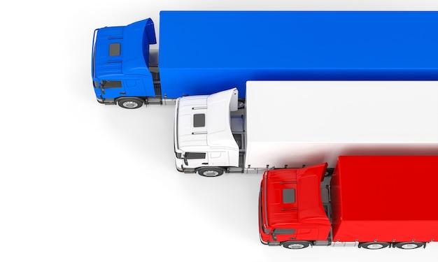 Caminhões de carga com as cores da bandeira da frança