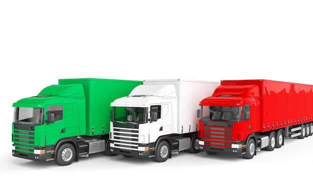 Caminhões de carga com as cores da bandeira italiana