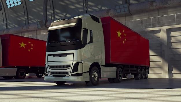 Caminhões de carga com bandeira chinesa. caminhões da china carregando ou descarregando na doca do armazém. renderização 3d.