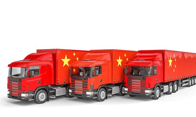 Caminhões de carga com bandeira chinesa