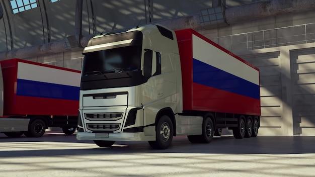 Caminhões de carga com bandeira da federação russa. caminhões da rússia carregando ou descarregando na doca do armazém. renderização 3d.