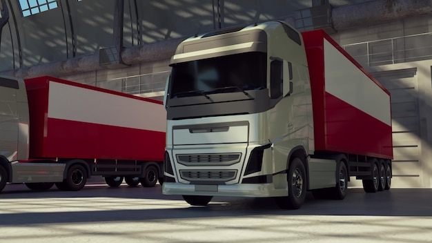 Caminhões de carga com bandeira da polónia. caminhões da polônia carregando ou descarregando na doca do armazém. renderização 3d
