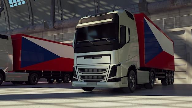 Caminhões de carga com bandeira da república tcheca. caminhões da república tcheca carregando ou descarregando na doca do armazém. renderização 3d.