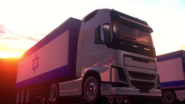 Caminhões de carga com bandeira de israel. caminhões de israel carregando ou descarregando na doca do armazém. renderização 3d