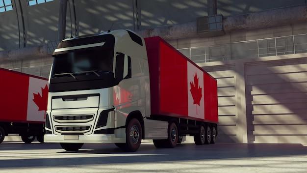 Caminhões de carga com bandeira do canadá. caminhões do canadá carregando ou descarregando na doca do armazém. renderização 3d.