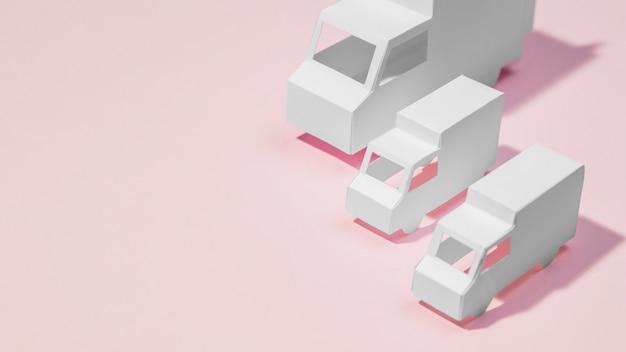 Caminhões de entrega de alto ângulo com cópia-espaço