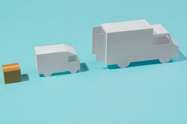 Caminhões de entrega de alto ângulo e caixa