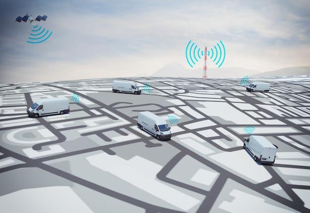 Caminhões de renderização 3d na estrada com caminho traçado por satélite