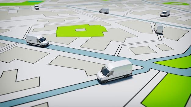 Caminhões em um mapa rodoviário de uma cidade