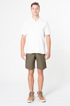 Camisa pólo branca masculina casual de corpo inteiro