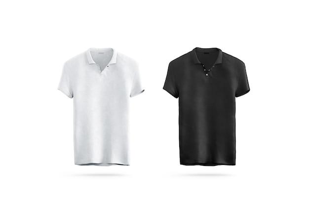 Camisa polo preta e branca em branco isolada, vista frontal