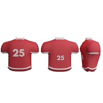 Camisa uniforme de uniforme de futebol americano 3d em 3 visualizações diferentes