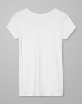 Camiseta branca básica feminina, vista traseira