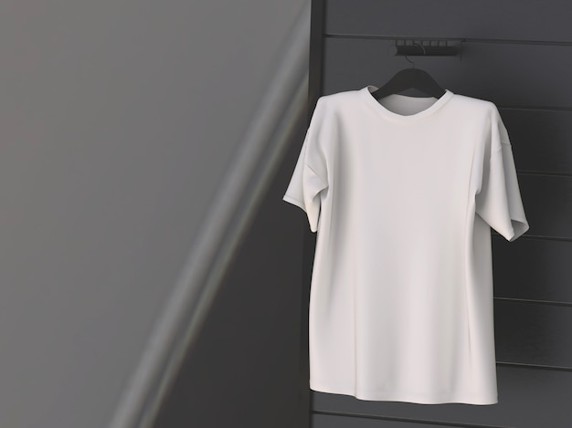 Camiseta branca pendurada na parede preta
