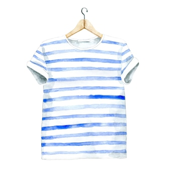 Camiseta casual aquarela no cabide