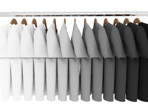 Camisetas em preto e branco com cabides isolados em branco, 3d
