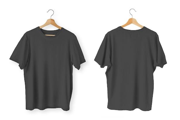 Camisetas pretas isoladas na frente e nas costas