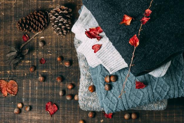 Camisolas de inverno vista superior com pinhas
