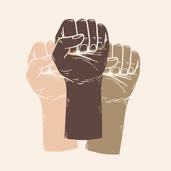 Campanha de igualdade com ilustração de punhos coloridos postagem na mídia social do movimento blm