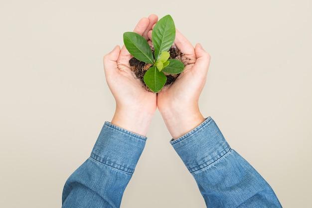 Campanha de plantação de mãos para salvar o meio ambiente